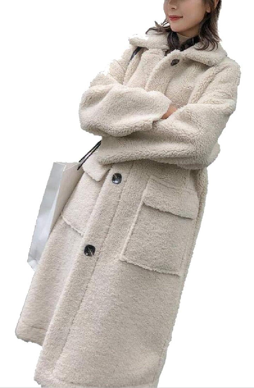 Esast Women's Fashion Lapel Sheep Parka Outwears Maxi Thicken Warm Winter Coats