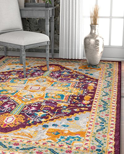 "Well Woven Occhio Vintage Medallion Purple Area Rug 3x5 (3'3"" x 4'7"") Soft Plush Modern Tribal Carpet"