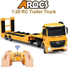 DOUBLE E RC Tow Truck Licensed Mercedes-Benz Acros Detachable Flatbed Semi-Trailer Engineering Tractor Remote Control Trailer Truck Electronics Hobby Toy with Sound and Lights ¡­