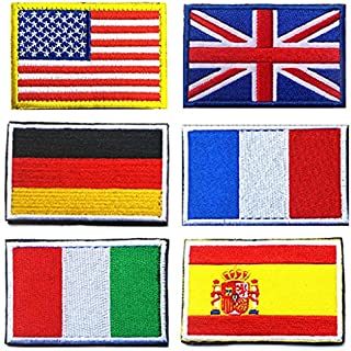 National Flag Patches, TOWEE 6 Pack US Flag/ Great Britain Flag/ Germany Flag/ France Flag/ Italy Flag/ Spain Flag Tactical Patches Embroidered Border Morale Patches