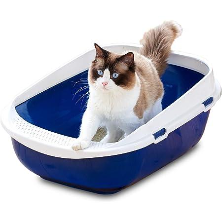 【OFT】 メガトレー 本体 ブルーベリー 猫用トイレ 本体 大きい猫 大きいトイレ ゆったり広々サイズ 飛び散り防止カバー付き サイズ(約) 幅48×奥65×高28.5cm