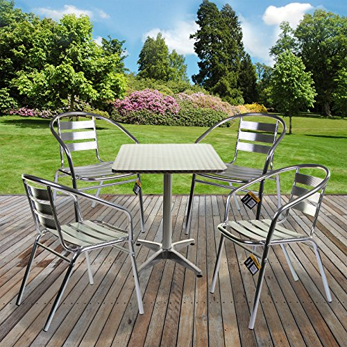 1x Square Bistro Table & 4x Chairs - Aluminium Lightweight Chrome Bistro Sets Square Table Chair Patio Garden Outdoor