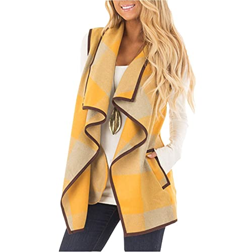 7429757b269228 SENSERISE Womens Lapel Open Front Sleeveless Plaid Vest Cardigan with  Pockets