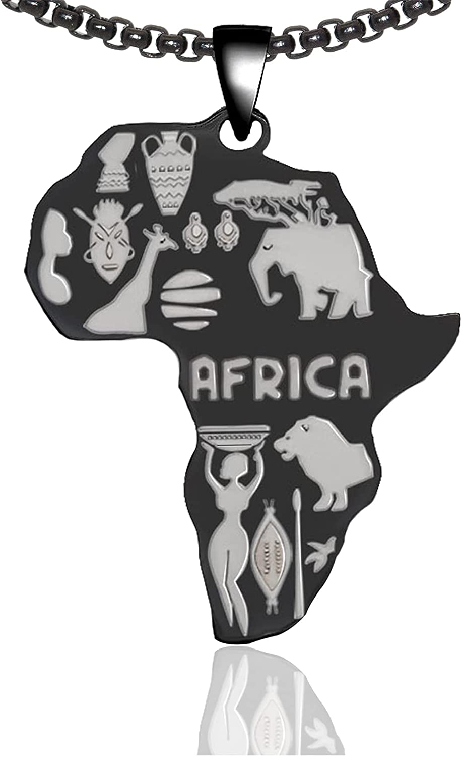 Xusamss Punk Rock Stainless Steel Africa Map Pendant Necklace,22inches Link Chain