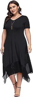 Women Plus Size Chiffon Irregular Hem Tunic Short Long Sleeve Dress