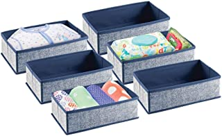 mDesign Soft Fabric Dresser Drawer and Closet Storage Organizer for Toddler/Kids Bedroom, Nursery, Playroom - Rectangular Bin with Textured Print, 6 Pack - Navy Blue