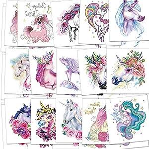 Unicorn Temporary Tattoos for Children Kids Girls(45Sheets),Konsait Great Girls Fake Stickers Waterproof Rainbow Unicorn… 3