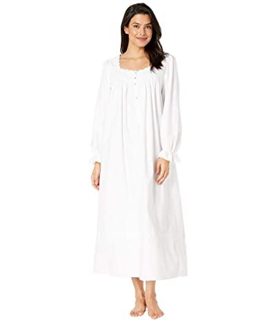 Eileen West Cotton Flannel with Embroidery Long Sleeve Ballet Nightgown (White/White Embroidery) Women