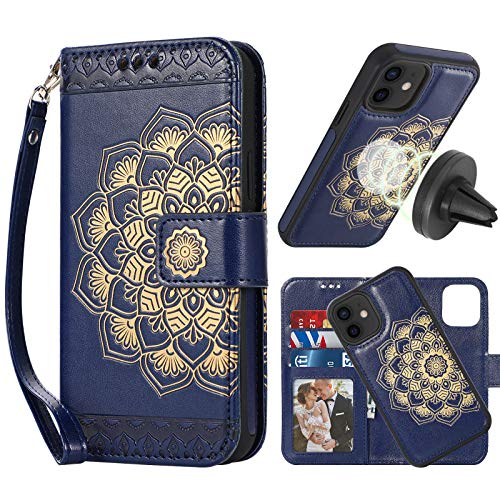 CASEOWL Case Compatible with iPhone 12/iPhone 12 Pro Wallet Case Magnetic Detachable [Support Magnetic Car Mount] with Card Holder,Hand Strap,Embossed Mandala Pattern Leather Wallet Case[Navy Blue]