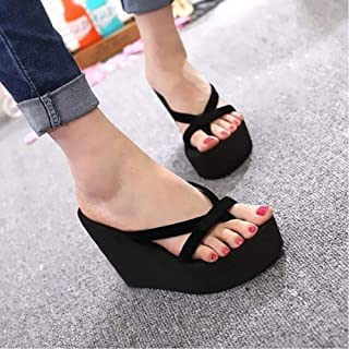 Women'S Platform Sandals High Heel Sandals Summer Ladies Shoes Fashion Slippers Beach Slippers Solid Slippers