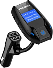 VicTsing Transmetteur FM Bluetooth Kit de Voiture sans Fil Mains-Libres Adaptateur Radio Chargeur Voiture avec 3 Ports USB Ecran d'affichage de 1,44 Pouces