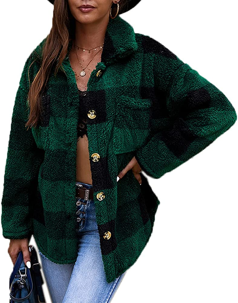 GZDMFS Large special price Womens Double Sided Fleece Plaid Shirt Button Jacket Down Ranking TOP5