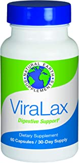 ViraLax Digestive Support   All Natural Earth Supplement   Relief from Constipation, Bloating, Gas & IBS   Herbal Laxative   1 Month Supply