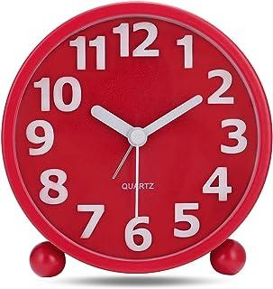 comprar comparacion Lafocuse 10.5cm Despertador Analógico Metal Numeros Grandes 3D con Luz de Noche Reloj de Mesa Silencioso Rojo