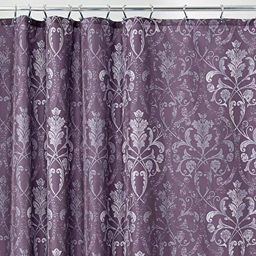 mDesign Decorative Vintage Damask Print - Easy Care Fabric Shower Curtain with Reinforced Buttonholes, for Bathroom Showers, Stalls and Bathtubs, Machine Washable - 72' x 72' - Purple