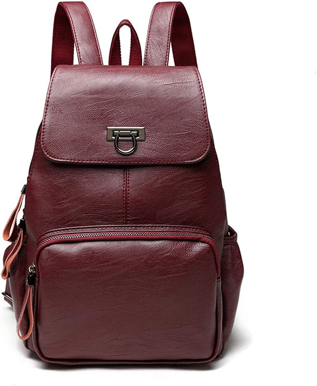 Women Backpack Leather Backpack Casual Girls Shoulder Schoolbag School Backpacks Red Leather Backpack for Women Mini Daypack Small Fashion Purse Travel Bag