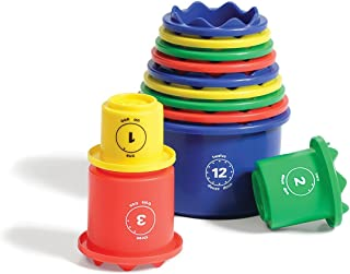 Measure UP! Cups Educational Stacking & Nesting Embossed, Numbered, 12 Pieces Set to Learn Volume & Math by Discovery Toys
