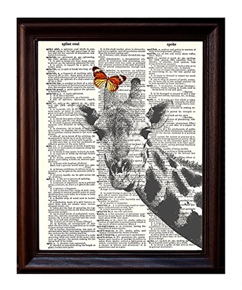 Dictionary Art Print Giraffe and Butterfly - Printed on Recycled Vintage Dictionary Paper - 8.5