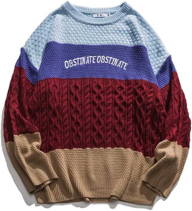 JJSPP Men Sweaters Retro Acrylic Streetwear Harajuku Autumn New Pullover Men's Sweaters (Color : Red, Size : L-Length -72CM)