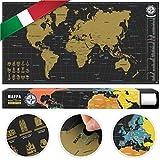 #benehacks Planisfero Mondo da grattare Poster Mappa del Mondo in Italiano – Cartina geografica da Utilizzare Come diario da Viaggio – Cartina Mondo – Oro/Nero 84 x 44 cm