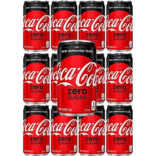 Coca-Cola Coke Zero Sugar, 7.5 Fl Oz Mini Can (Pack of 12, Total of 135 Oz)