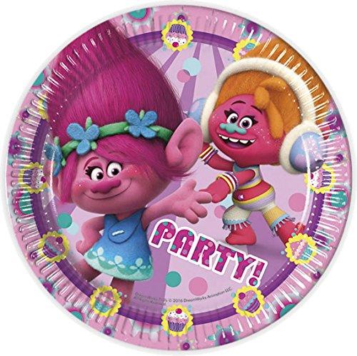 8 Teller * TROLLS * für Kindergeburtstag oder Mottoparty // Geschirr Papierservietten Plates Pappteller