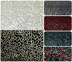 3mm Mini Holographic Sequins Swirl Pattern on Stretch Knit Jersey Polyester Spandex Fabric by The Yard (Silver/White)
