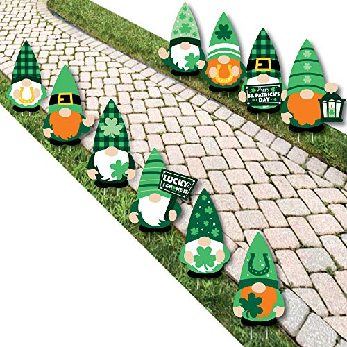 Big Dot of Happiness Irish Gnomes  Lawn Decorations  Outdoor St Patrick Day Party Yard Decorations  10 Piece