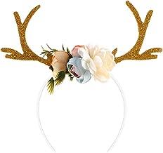BESTOYARD Reindeer Antler Headband Christmas Headband Novelty Party Hair Band Head Band with Flowers Blossom Fancy Dress Costumes Accessory (Khaki)