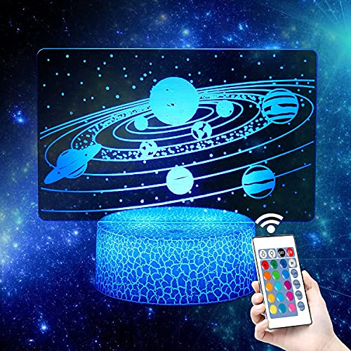 3D Solar System Night Light-LED Optical Illusion Lamp Universe Space Galaxy and 7 Color Change Decor Table Lamp with, Valentine's Day