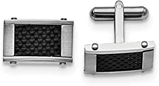 Stainless Steel Brushed and Polished Black Carbon Fiber Inlay Cufflinks