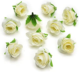 Flower Head in Bulk Wholesale for Crafts Artificial Silk Rose Fake Scrapbooking Flowers Ball DIY Party Festival Home Decor Wedding Decoration 30pieces 3-4cm (Cream)
