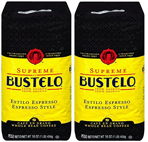 Cafe Bustelo Supreme Whole Bean Espresso Coffee, Two 16-Ounce Bags (2 Pounds)