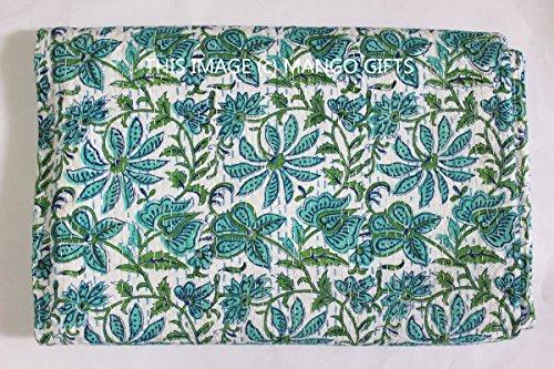 MANGO GIFTS Kantha Stil Tagesdecke, Patchwork, handgefertigt, Baumwolle, ca. 224x 269cm, Floral
