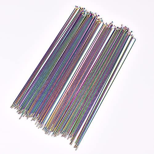 Bicicletas hablaron 26/27.5 / 29 pulgadas llenas de cables de vacío alambre vacío Rainbow Spomas de arco iris de 2.0 mm de carretera de acero inoxidable Hablado Piezas de bicicleta ( Color : 261mm )