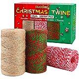 Elcoho 3 Rollen natürliche Juteschnur zum Basteln, Basteln, für Geschenkverpackungen, 3 Rollen