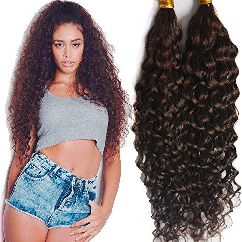 Hesperis Grade 8A Mongolian Virgin Hair Deep Curly Bulk Hair Weaving For Braiding 100% Unprocessed No Weft Human Hair Bulk Extensions 100g Per Bundle (24,24inch, Natural Color)