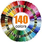 Premium Rainbow Color Embroidery Floss 140 Skeins Per Pack with Cotton for Cross Stitch Th...