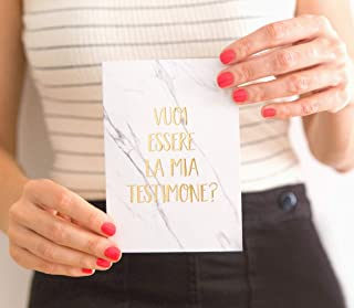 Biglietto Testimone di Nozze Oro | Vuoi essere la mia testimone | Biglietti testimone della sposa