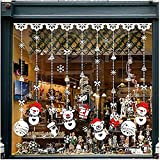 Natale Vetrofanie, DIY Rimovibili Natale Adesivi Murales Stickers PVC Babbo Natale Albero di Natale Finestre Adesivo per Casa Camerette Salotto Fai Da Te (G 4PCS 30cm X 43cm)