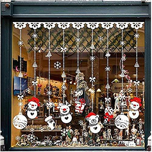 Fensterbilder für Weihnachten,Netter Sankt Weihnachts Baum Fensterdeko -Statisch Haftende PVC Aufklebe (C 4PCS 30cm x 43cm)