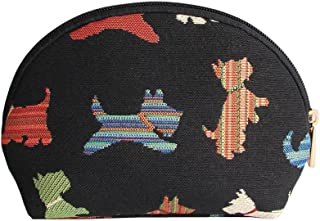 Black Dog Print Scottie Tapestry Makeup Bag Travel Cosmetic Bag Brush Bag for Women Girls by Signare (COSM-SCOT)