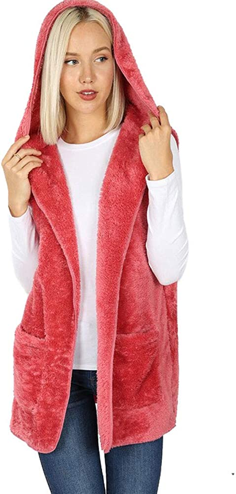 NioBe Clothing Womens Sleeveless Faux Fur Hooded Vest with Pockets