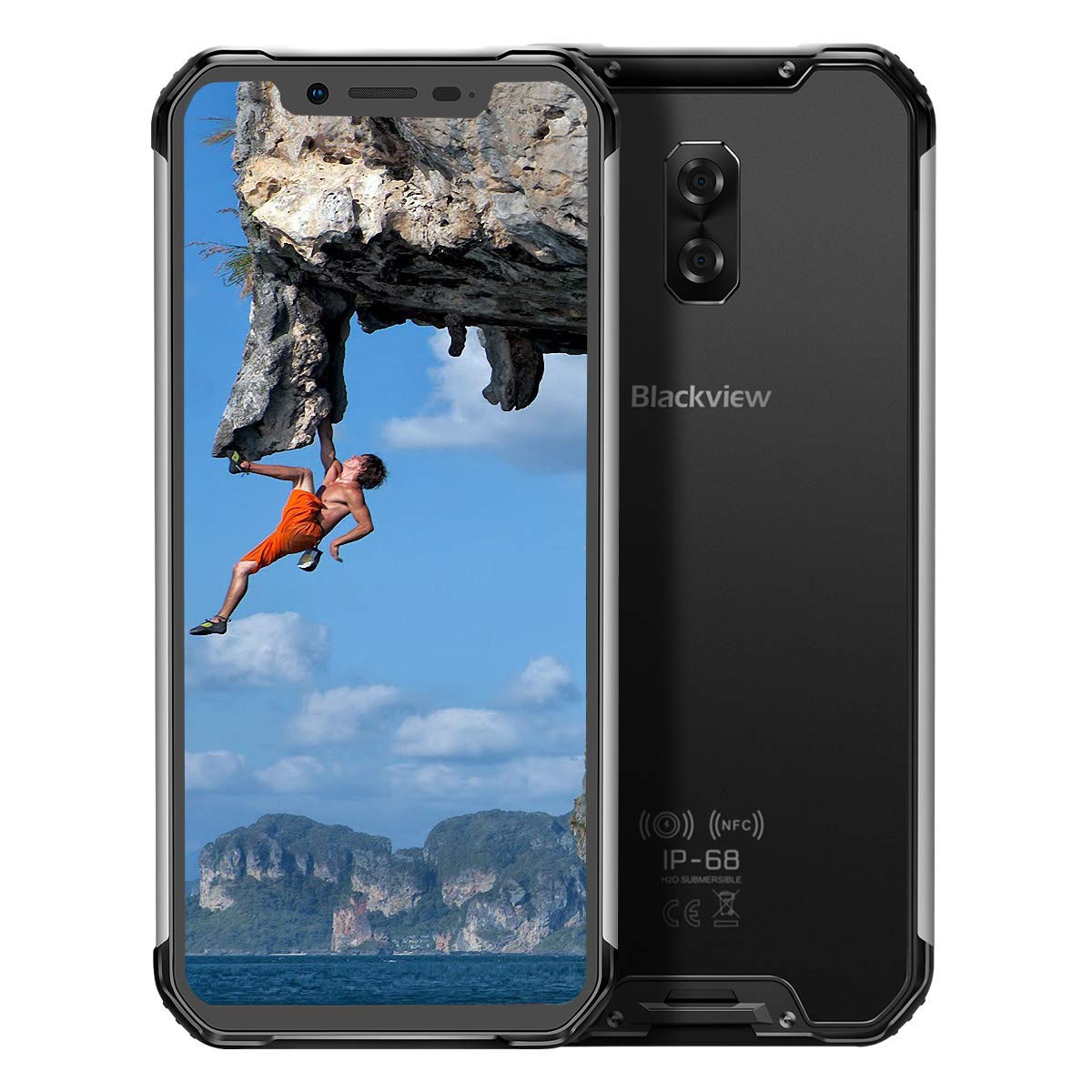"""Blackview BV9600E (2020) Rugged AT&T Cell Phones Unlocked, 4GB+128GB Helio P70 Octa-Core Android 9.0 Rugged Phones, 6.21"""" ..."""
