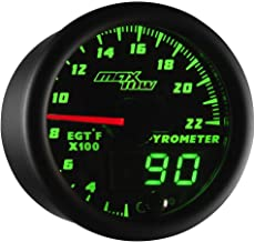 MaxTow Double Vision 2200 F Pyrometer Exhaust Gas Temperature EGT Gauge Kit - Includes Type K Probe - Black Gauge Face - Green LED Dial - Analog & Digital Readouts - for Gas Trucks - 2-1/16