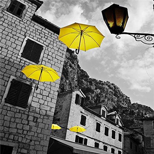 mmwin Estilo nórdico Minimalista Blanco y Negro Arquitectura del Paisaje Paraguas decoración Pintura 661-1 40 * 60