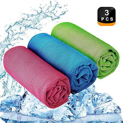 "YQXCC Cooling Towel 3 Pcs (47""x12"") Microfiber Towel for Instant Cooling Relief, Cool Cold Towel for Yoga Golf Travel Gym Sports Camping Football & Outdoor Sports (Light Blue/Green/Rose Red)"