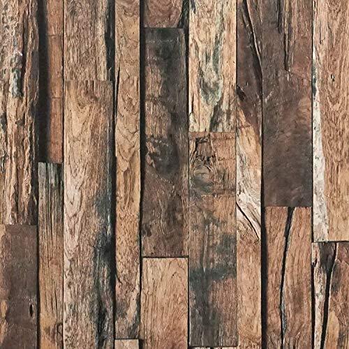 Braun Holz Möbelfolie Selbstklebend 45 x 500cm Tapete Holz Wandtattoo 3D Klebfolie Schrank Möbel Holzoptik Dunkelbraun Holztapete Klebefolie Vinyl