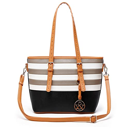 a60865000 HNA Classic Multi Color Striped Top Handle Tote Bag
