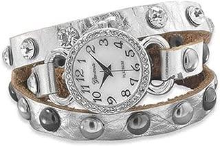 Silver Leather Fashion Wrap Watch